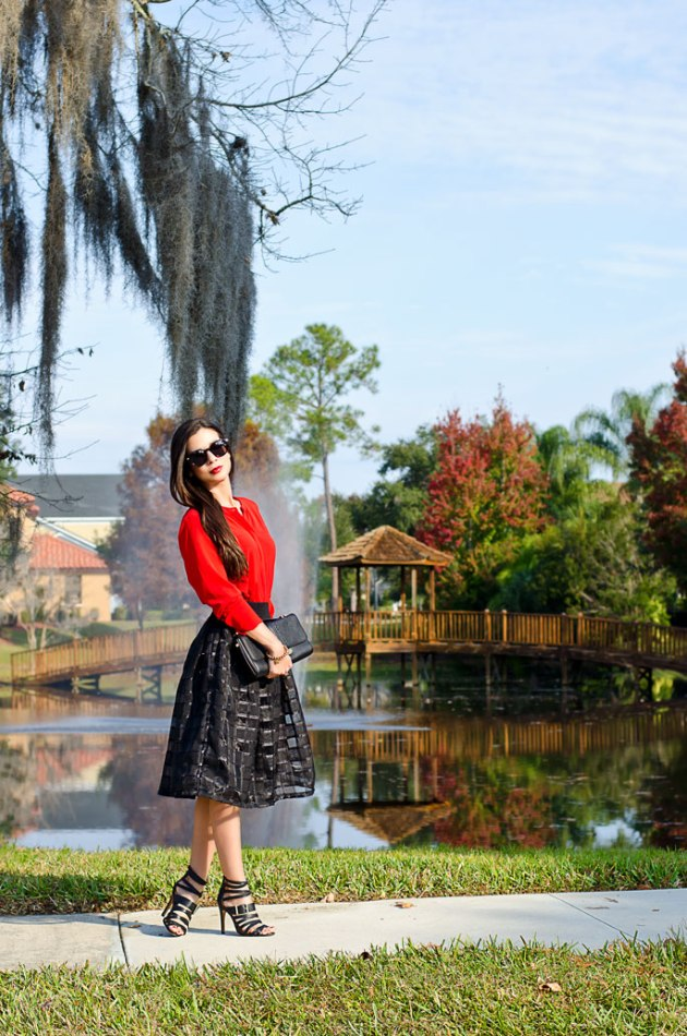 black-midi-skirt-and-red-blouse