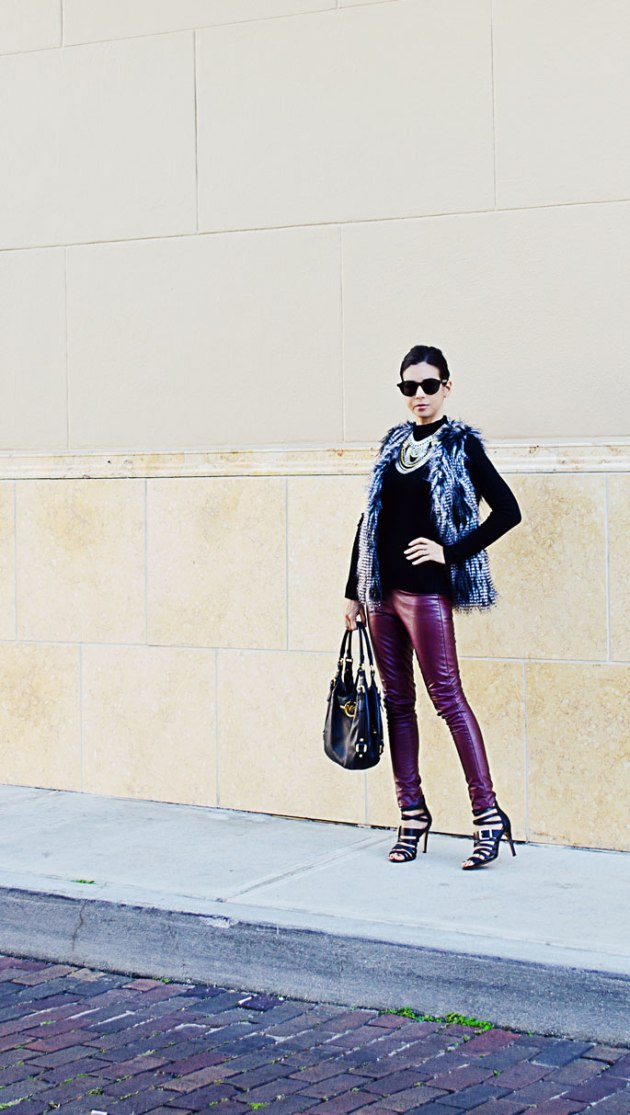 burgundy-leather-leggings-and-statement-necklace