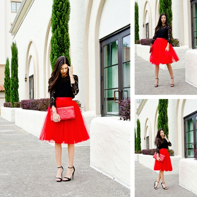 how-to-wear-a-tulle-skirt-tory-burch-clutch-red