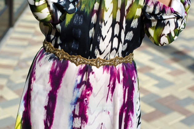 ann taylor loft jeweled belt and colorful shift dress