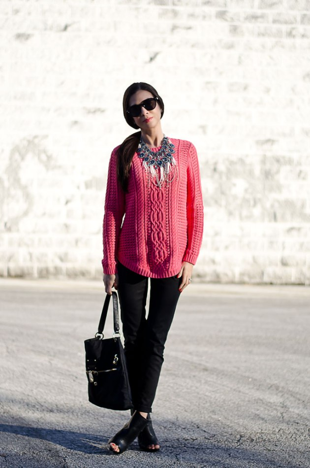 dressing-up-a-bright-pink-cable-knit-sweater-with-a-statement-necklace-3
