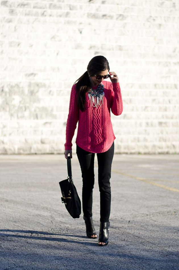 dressing-up-a-bright-pink-cable-knit-sweater-with-a-statement-necklace-6