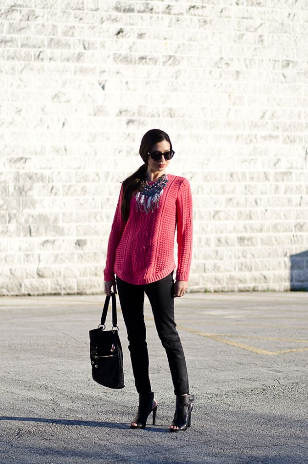 dressing-up-a-bright-pink-cable-knit-sweater-with-a-statement-necklace-7
