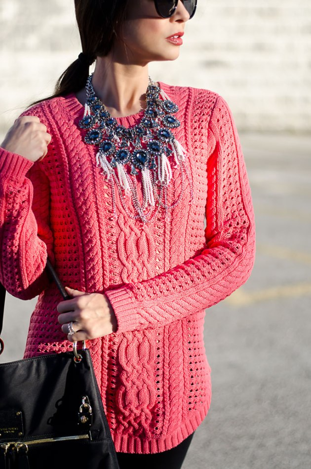 dressing-up-a-bright-pink-cable-knit-sweater-with-a-statement-necklace-9