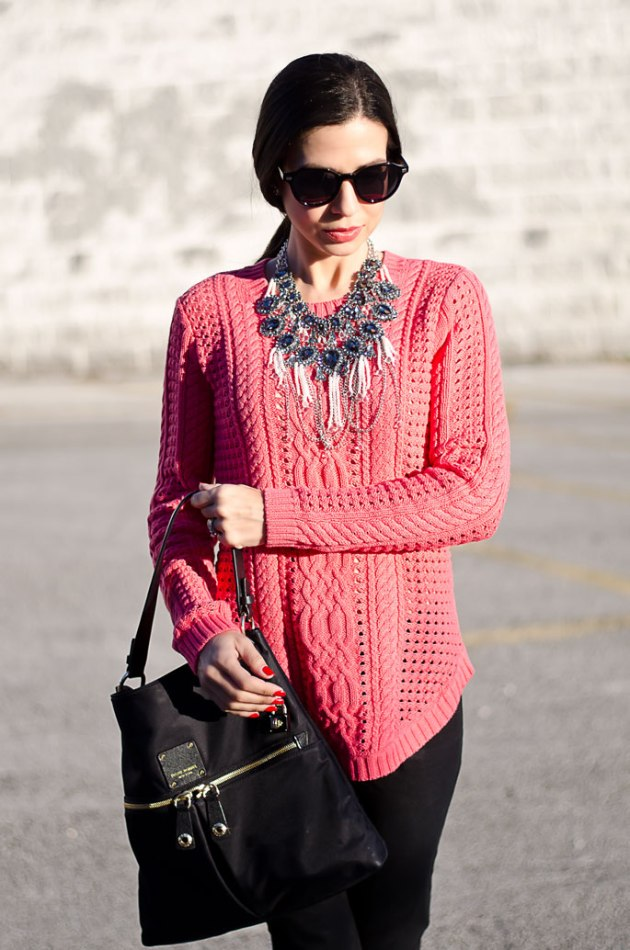 dressing-up-a-bright-pink-cable-knit-sweater-with-a-statement-necklace-henri-bendel-jetsetter-handbag