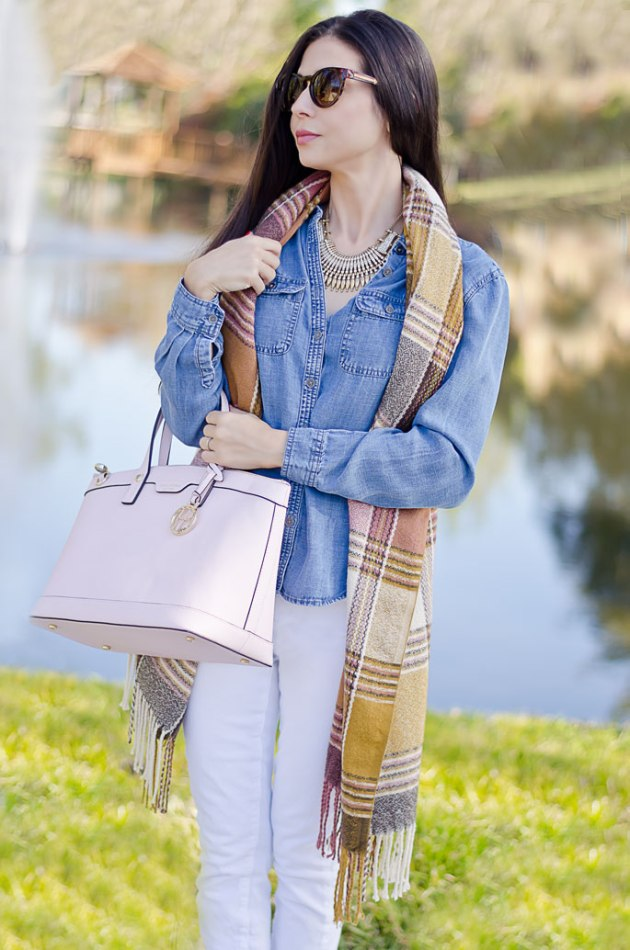 henri-bendel-west-57th-satchel-loft-white-skinny-jeans-loft-chambray-shirt-dorothy-perkins-scarf-b