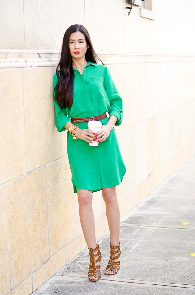 ootd-dorothy-perkins-green-shirt-dress-chinese-laundry-caged-high-heel-sandals-2