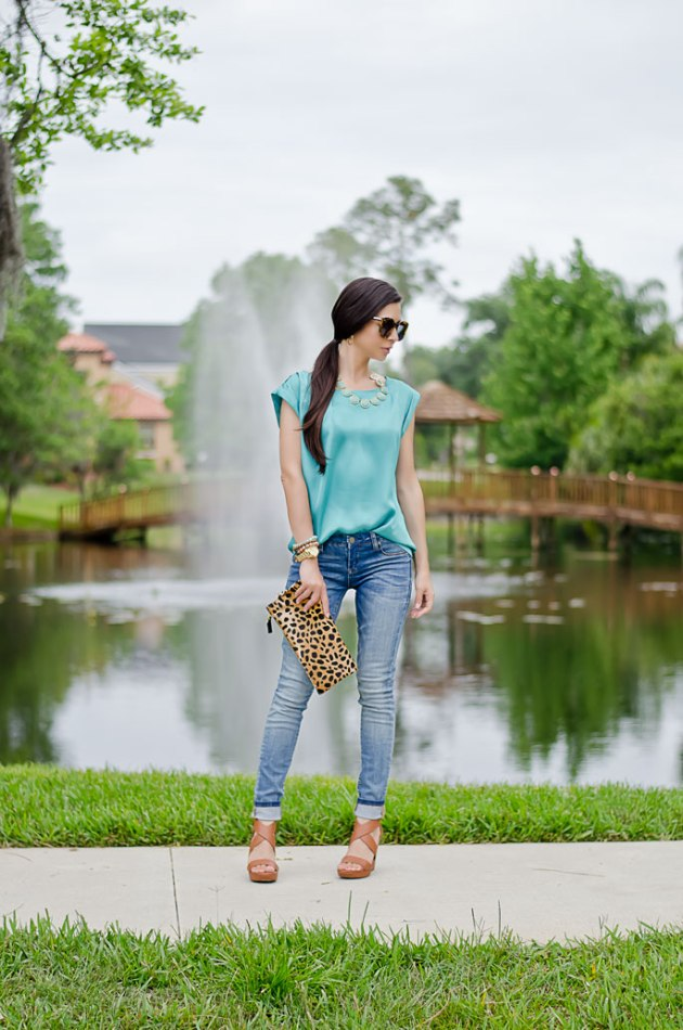outfit-of-the-day-leopard-foldover-clutch-clare-v-and-turquoise-blouse-1