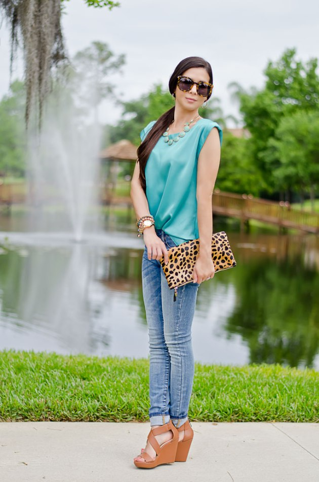 outfit-of-the-day-leopard-foldover-clutch-clare-v-and-turquoisel-blouse-2