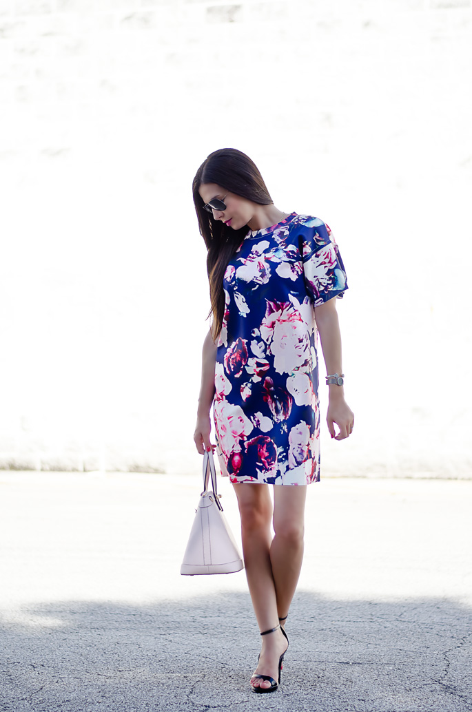 b590a9968d Outfit of the Day: Blue and Pale Pink Floral Print Dress | The ...