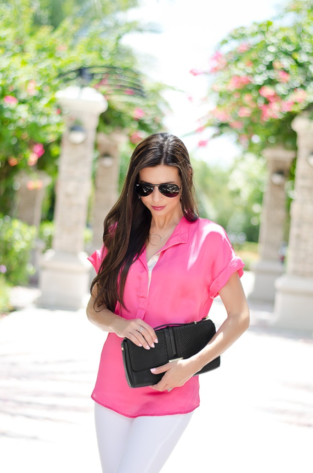 black-rebecca-minkoff-clutch-with-white-skinny-jeans-topshop-and-a-bright-pink-top