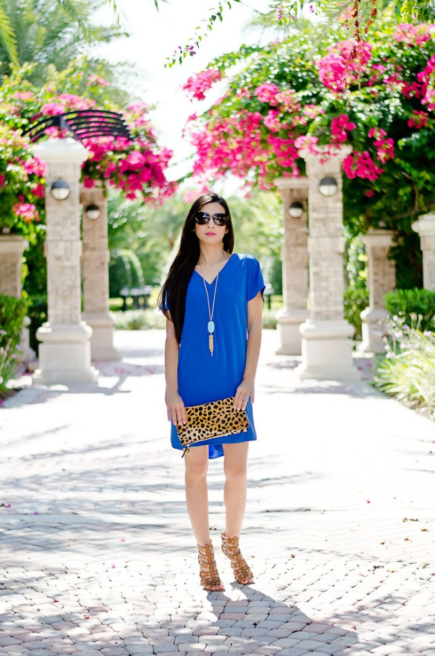 outfit-of-day-blue-dress-maggy-london-and-leopard-clutch-clare-v-foldover-clutch