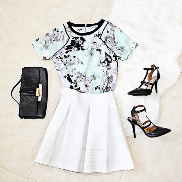 summer-floral-blouse-nordstrom-rack-white-skirt-black-steve-madden-pumps-black-rebecca-minkoff-clutch