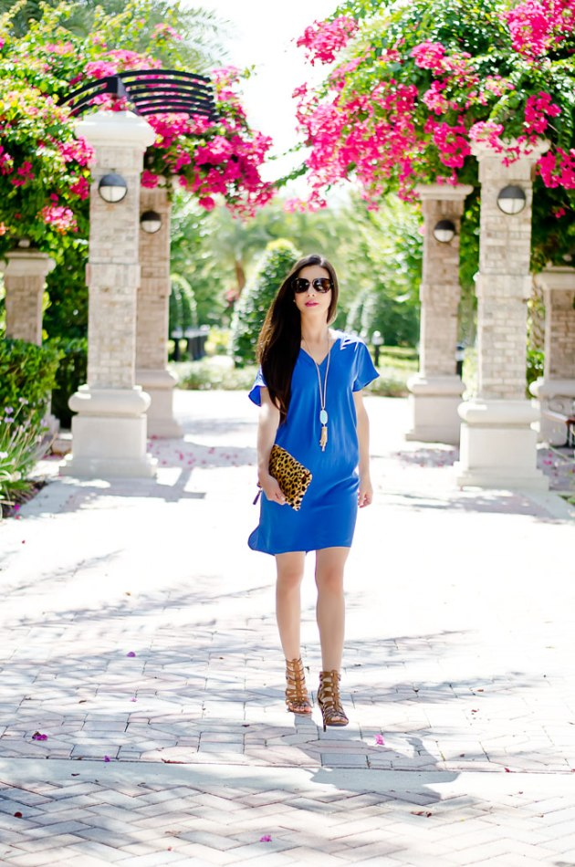 summer-outfit-of-the-day-blue-dress-and-foldover-leopard-clutch