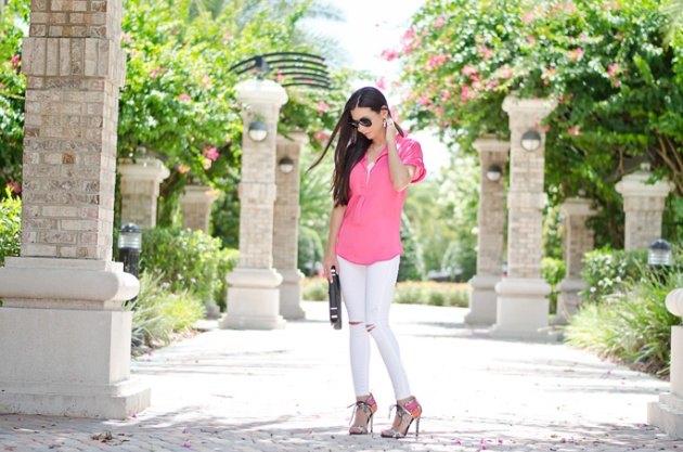 white-skinny-jeans-topshop-bright-pink-blouse-nordstrom-lace-up-heels-dorothy-perkins