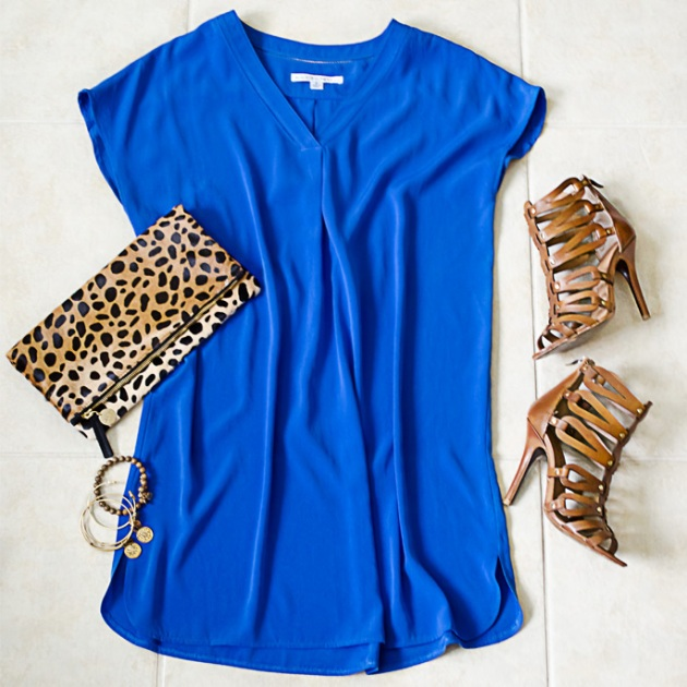 Maggy-London-Blue-Dress-Clare-Vivier-Leopard-Fold-Over-Clutch