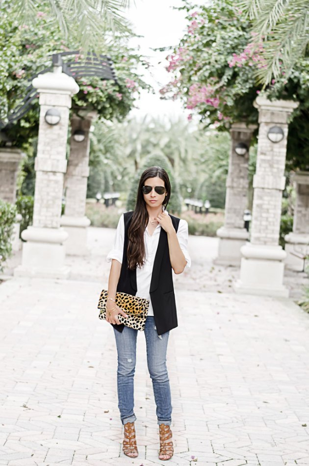 classic-outfit-ideas-black-vest-with-a-white-tee-and-perfect-accessories-halogen-vest-clare-v-leopard-clutch-loft-skinny-jeans-1