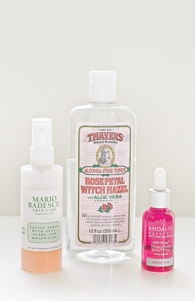 Three-of-the-best-rose-skin-care-products-Mario-Badescu-Facial-Spray-Thayers-Rose-Petal-Witch-Hazel-Andalou-Naturals-1000-Roses-Moroccan-Beauty-Oil