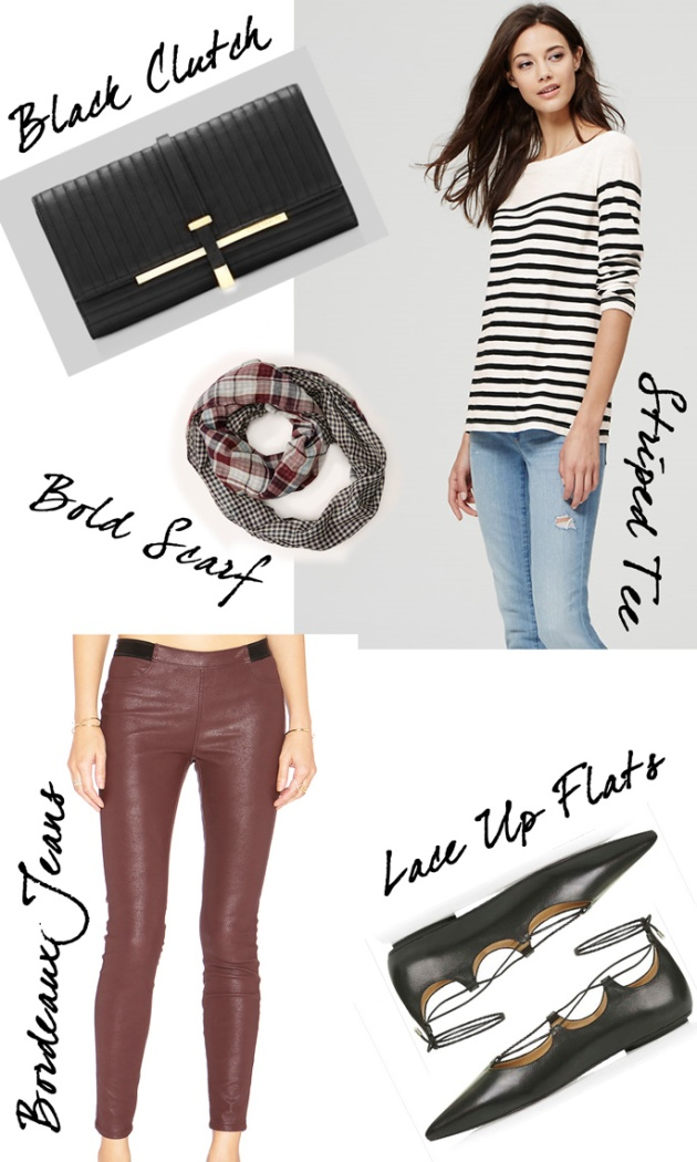 Wednesday-Wishlist-Bordeaux-Jeans-Lace-Up-Flats-Striped-Tee-Black-Clutch-and-a-Bold-Scarf
